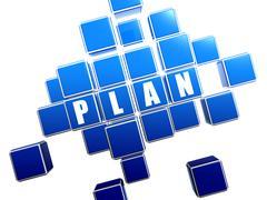 blue plan in blocks - stock illustration
