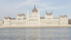 National Parliament Building in Hungarian capital of Budapest daytime 4K  Stock Footage