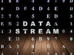 Data concept: Data Stream in grunge dark room Stock Illustration