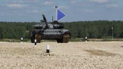 Tank with a blue flag. Biathlon Alabino Stock Footage