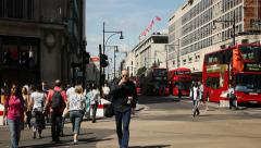 Traffic in Oxford Circus, London - stock footage