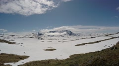 A wide view of the mountains along Sognefjellet in Norway, timelapse. Stock Footage
