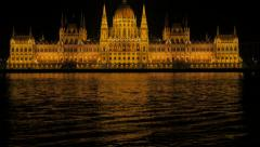 National Parliament Building in Hungarian capital Budapest and river Danube Stock Footage