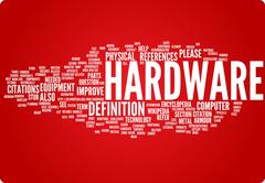 Hardware word cloud illustration. Graphic tag collection - stock illustration