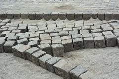 Stock Photo of Road Construction with Cobblestone