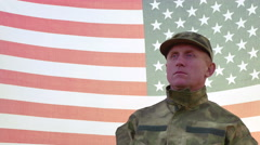 Soldier salute against American  flag. 4K shot 3840x2160 Stock Footage
