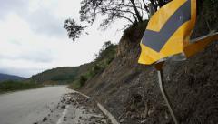 Warning Road Sign Crash Dolly Stock Footage