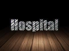 Medicine concept: Hospital in grunge dark room - stock illustration