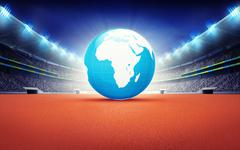 Stock Illustration of athletics stadium with Africa earth map