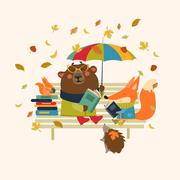 Cute fox and funny bear reading books on bench - stock illustration