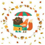Cute fox and bear hugging under umbrella in wreath of autumn leaves - stock illustration