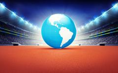 Stock Illustration of athletics stadium with America earth map
