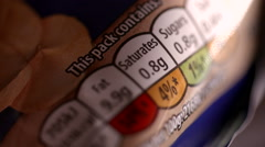 Nutrition Facts Close-Up Stock Footage