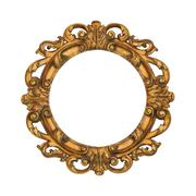 Oval golden baroque style frame isolated with clipping path included Stock Photos