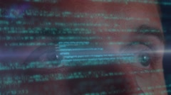 Programmer's Eyes Tacking Code Hologram. Futuristic Technology Stock Footage