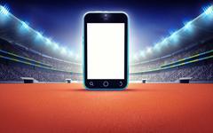 Athletics stadium with empty cell phone screen Stock Illustration