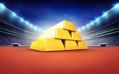 athletics stadium with golden bars pile - stock illustration