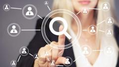 Search magnifier business online communication icon Stock Footage