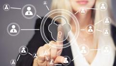 Button lock security business online Stock Footage