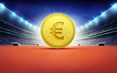 athletics stadium with golden Euro coin - stock illustration