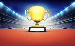Athletics stadium with golden winner cup Stock Illustration