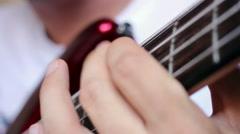 Bass guitar playing, close up video Stock Footage