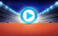 Stock Illustration of athletics stadium with blue play icon