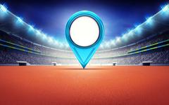 athletics stadium with blue empty pointer - stock illustration