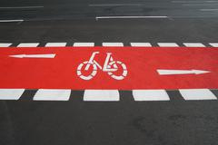 Bike lane painted red Stock Photos
