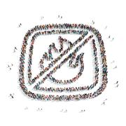 group  people shape  fire ban - stock illustration