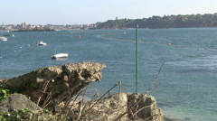 View Across River Rance Towards St Malo in Brittany France Stock Footage