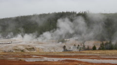 Old Faithfull area Geysers  at Yellowstone National Park Stock Footage