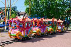 Children's train attraction at Basanaviciaus Street in Palanga Stock Photos
