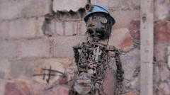 Miner Sculpture  made junk metal Stock Footage