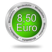8,50 Euro minimum wage - in german - stock photo