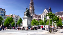 ULTRA HD 4K real time shot,The Cathedral and statue of Rubens,ANTWERP Stock Footage