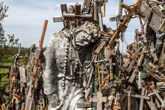 Hill of Crosses with Crucifix Stock Photos