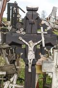 Hill of Crosses with Crucifix - stock photo