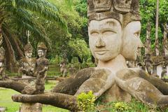 Stock Photo of Exterior of the sculptures in Buddha park in Vientiane, Laos.