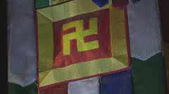 Flag with swastika  in Ho Chi Minh City, North Vietnam Stock Footage