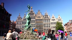 ULTRA HD 4K real time shot,The Grand Place with the Statue of Brabo,Antwerp Stock Footage