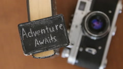 Adventure awaits idea Stock Footage
