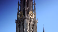 ULTRA HD 4K real time shot,The Grand Place and the Cathedral in Antwerp Stock Footage