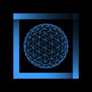 Stock Illustration of Mesh polygonal background. Scope of lines and dots. Ball of the lines connect