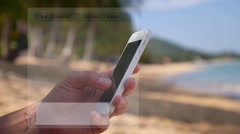 Chatting on the Beach with Smarphone Stock Footage