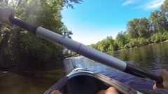 POV Action Kayaking on the Mississippi River Stock Footage