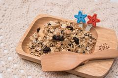 Granola in cupcake cases  on white background Stock Photos