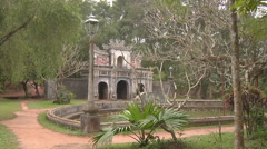 Gate and lake in Ho Chi Minh City, North Vietnam Stock Footage