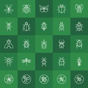 Insects line icons - stock illustration