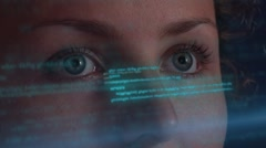 Woman Working on SkiFi Virtual  Interface. Futuristic Hologramic Technology Stock Footage